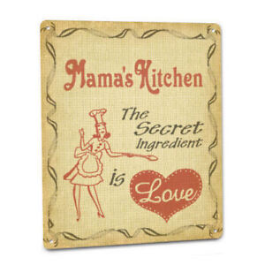 Mama#x27;s Kitchen Love Sign Grandma Mother Mom Cooking Recipe Secret Plaque Decor