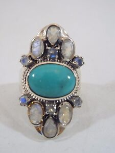 Himalayan Gems Sterling Silver Turquoise and Moonstone Ring Size 8 or 9