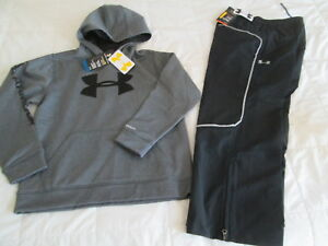 NEW Boys UNDER ARMOUR 2Pc Outfit Gray Hoodie+Hockey ALLSEASONPants YLG FREE SHIP