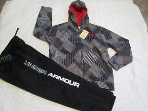NEW Boys UNDER ARMOUR 2Pc Outfit BlkGray Hoodie+Pants COLDGEAR YLG FREE SHIP!!!