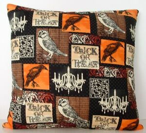 Halloween - Treat or Treat w/ Owls, Ravens On An Allover Cotton Print Pillow New