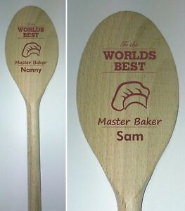 Personalised Master Baker wooden Spoon mum dad nanny baker chef christmas gift
