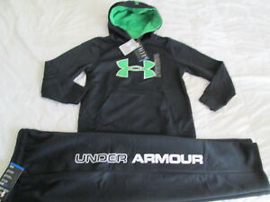 NEW Boys UNDER ARMOUR 2Pc Outfit BlkGreen Hoodie+Pants COLDGEAR YMD FREE SHIP!