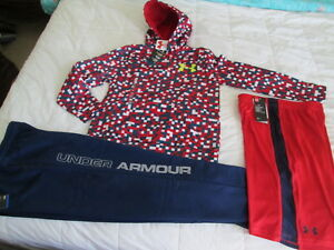 NEW Boys UNDER ARMOUR 3Pc Outfit BlueRed Hoodie+Pants+Shorts Ylg FREE SHIP