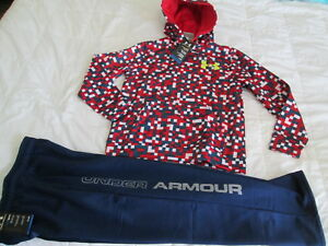 NEW Boys UNDER ARMOUR 2Pc Outfit BlueRed Hoodie+Pants COLDGEAR YMD FREE SHIP