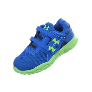 Under Armour boys toddler sneakers NEW size 6 blue green Engage shoes slip on