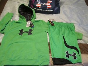 NEW Boys UNDER ARMOUR 2Pc Outfit BlackGreen Hoodie+Shorts YXL 18-20 FREE SHIP!