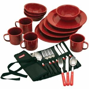 Coleman Enamel Dinnerware Spoon Forks Bag Knife Dishes Plates Cup Camping 24 PC