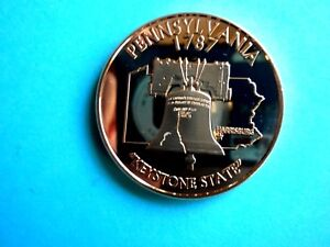 PENNSYLVANIA STATE amp; LIBERTY BELL 1OZ COPPER Rounds $2.75