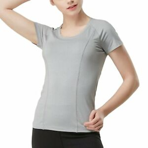 MASHNASH Womens Basic Solid Color Fitness Tee Ultra Soft Comfortable Fast Dry S