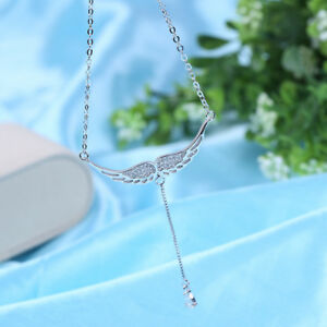 925 Silver Angle Wings Pendant Zircon Charms Necklace Women Jewelry Gift $8.99