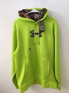 NWT Under Armour Men's XL Tall Hooded Sweatshirt Realtree Camo Storm Lime