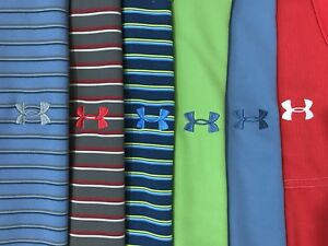 Lot of 5 Under Armour Loose Fit Hear Gear Golf Polo Shirts Size Large L
