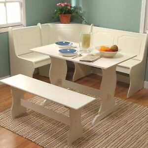 White Dining Breakfast Nook Set Corner Booth Bench Table Seat Kitchen Furniture