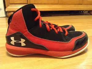 Youth Under Armour PS Jet BlackRed Basketball Shoes Size 2Y