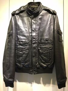 Black Leather Biker Jacket AW05 Hedi Slimane size 48
