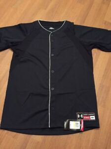 Under Armour Heat Gear Men's Button Down Baseball Shirt Size Medium Black