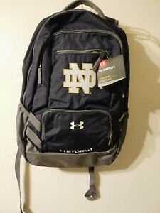 NWT Under Armour Notre Dame Fighting Irish Navy Storm Hustle II Backpack NCAA