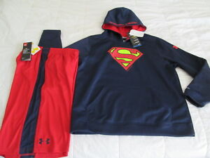 NEW Boys UNDER ARMOUR Alter Ego SUPERMAN Blue Hoodie+Red Shorts YLG  FREE SHIP