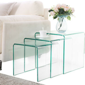Modern Design Nest of 3 Clear Glass Coffee Table Side End Table Living Room