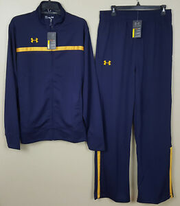 UNDER ARMOUR BASKETBALL WARM UP SUIT JACKET+PANTS NAVY BLUE GOLD NEW =SIZE LARGE
