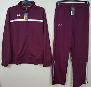 UNDER ARMOUR BASKETBALL WARM UP SUIT JACKET + PANTS MAROON WHITE NEW (SIZE 2XL)