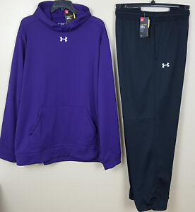 UNDER ARMOUR COLDGEAR SWEATSUIT HOODIE + PANTS PURPLE BLACK RARE NEW (SIZE 4XL)