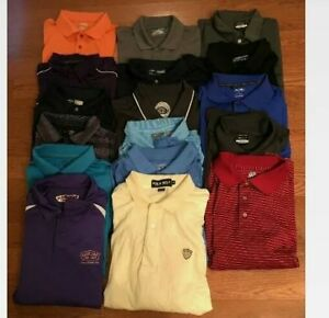 LOT OF 17 NIKE ADIDAS IZOD GOLF POLO SHIRTS DRI-FIT UNDER ARMOUR PGA Men's XL