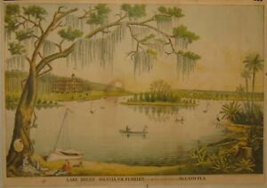 SCARCE Antique LAKE HELEN Volusia County FLORIDA Currier School Large LITHOGRAPH