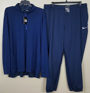 NIKE DRI-FIT WOOL 12 ZIP TOP SHIRT + PANTS OUTFIT NAVY BLUE RARE NWT (SIZE 4XL)