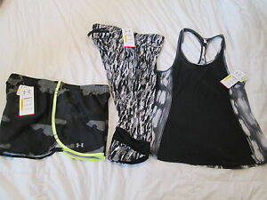 NEW  Womens UNDER ARMOUR 4pc OUTFIT CAPRI 2 Shorts+BlkGray Tank MD FREE SHIP