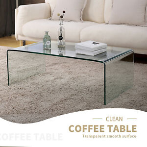 Modern Design Rectanglar Glass Coffee Table Transparent Living Room Furniture