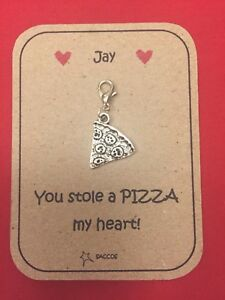 Anniversary Gift For Him Her Personalised Key ring Clip Charm Pizza Saccos