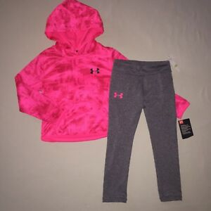 GIRLS SIZE 4 4T UNDER ARMOUR LEGGINGS HOODIE JACKET OUTFIT SET PINK  GRAY NWT