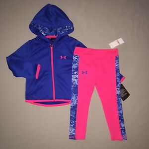 GIRLS SIZE 2 2T UNDER ARMOUR HOODIE JACKET LEGGINGS OUTFIT SET BLUE  PINK NWT