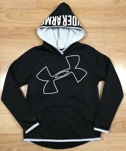 UNDER ARMOUR Hoodie Youth Medium Loose Cold Gear Black And White