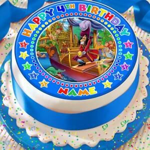 PETER PAN AND CAPTAIN HOOK PERSONALISED 7.5 INCH PRECUT EDIBLE CAKE TOPPER A087K