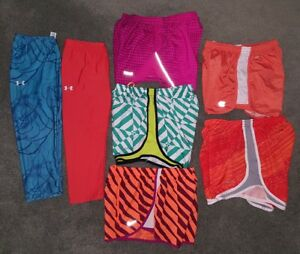 NIKE RUNNING SHORTS Women's Teen's Lot of 8 Brief Dri Fit Brief Liners capris