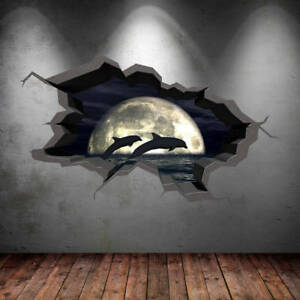 3D Dolphins Wall Decal Wild Animals Cracked Full Colour Wall Art Sticker WSD248