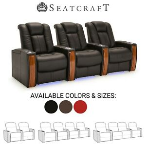 Seatcraft Monaco Leather Home Theater Seating Power Recline Wood Accent Armrests