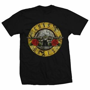 Guns N Roses Bullet Logo Black Men's Graphic T-Shirt New