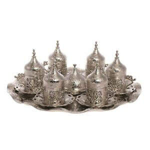 Ottoman Turkish Silver Brass Tea Coffee Saucers Cups Tray Set - Over 200 SOLD