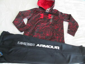 NEW Boys UNDER ARMOUR 2Pc Outfit BlkRedWEB Hoodie+Pants COLDGEAR YLG FREE SHIP!