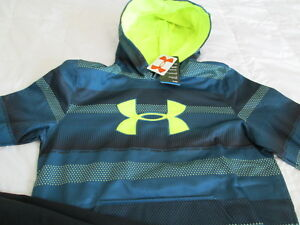 NEW Boys UNDER ARMOUR COLDGEAR Hoodie Blue Big Yellow UA LogoYSMALL 8 FREE SHIP!