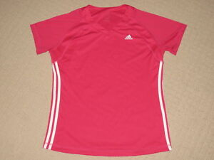 Womens Adidas ATS Dry 3 Stripes Running Workout Athletic Fitness Shirt XL Pink