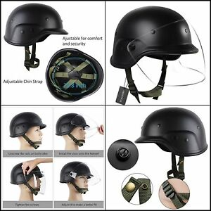 Durable Tactical Military Airsoft M88 PASGT Kelver Swat Helmet Clear Visor Black