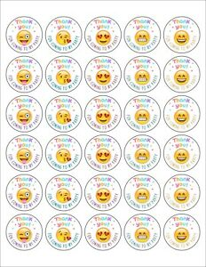 30 Emoji Thank You for Coming Round Stickers Bag Lollipop Party Favors Birthday