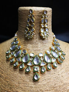 Fancy Kundan Necklace set Gold Tone With Earring For Woman Girls