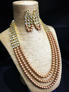 Kundan Necklace Set Pearl Mala Gold Tone With Earrings For Woman