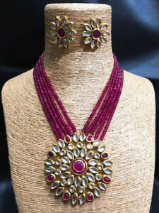 Kundan Necklace set Dark Magenta ( Rani ) Color in Onex For Woman